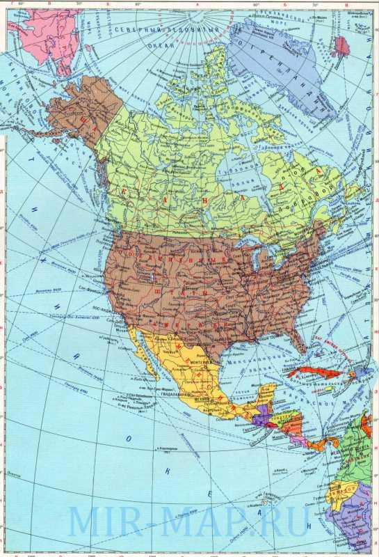 Политическая карта Северной Америки. Карта Северной ...: http://mir-map.ru/435078.html
