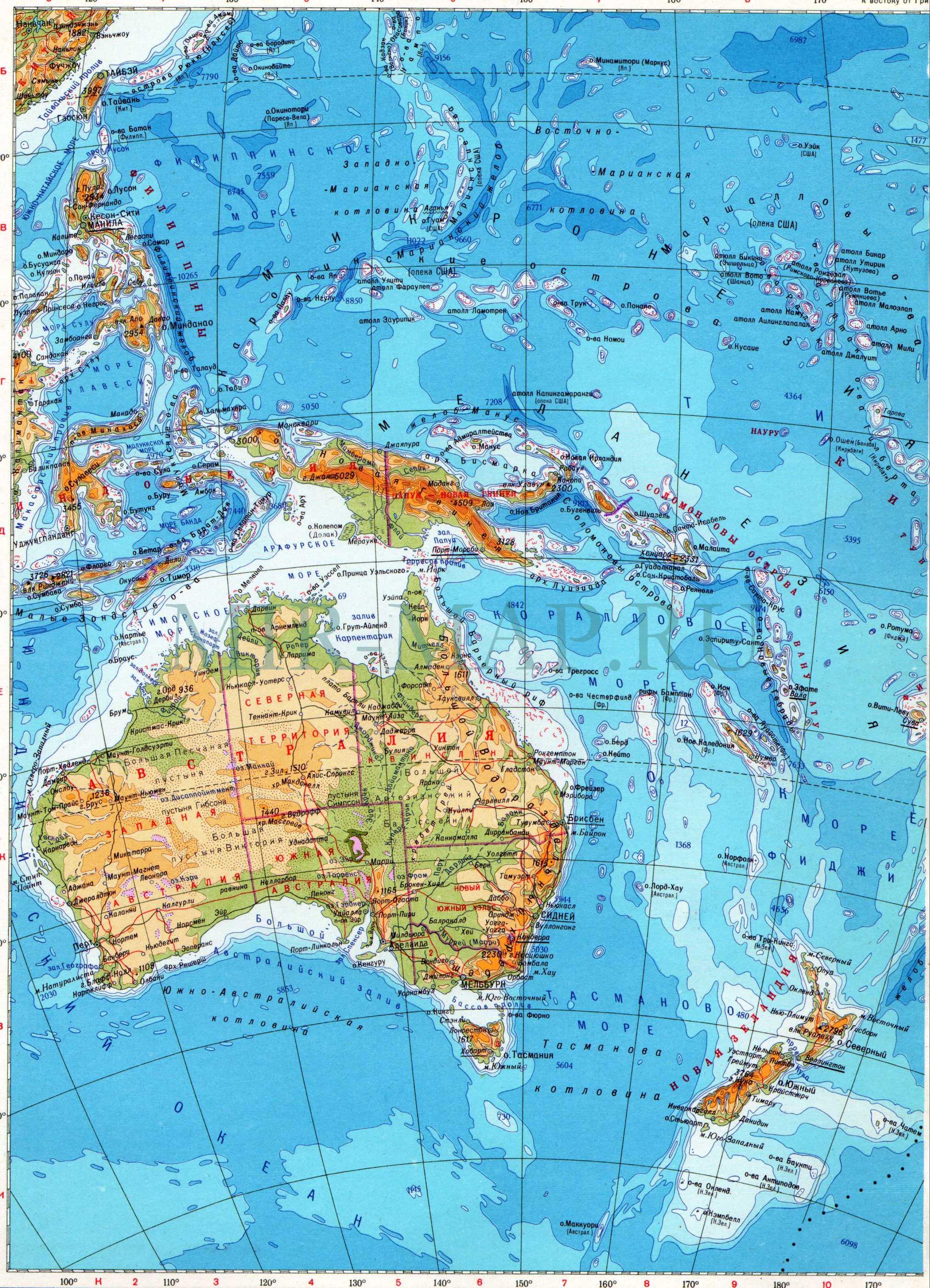 Карта австралии и океании физическая