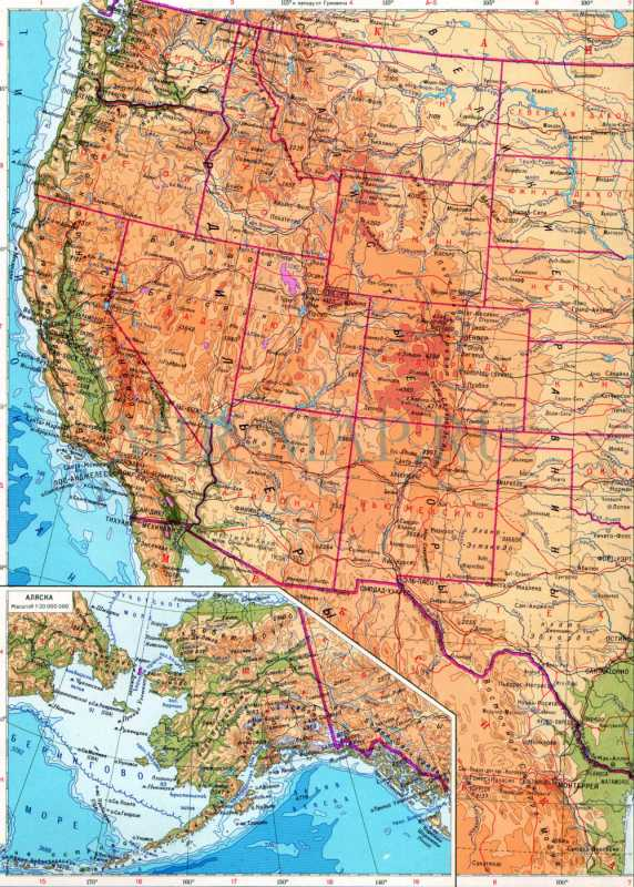 Карта США географическая. Детальная географическая карта ...: http://mir-map.ru/437579.html