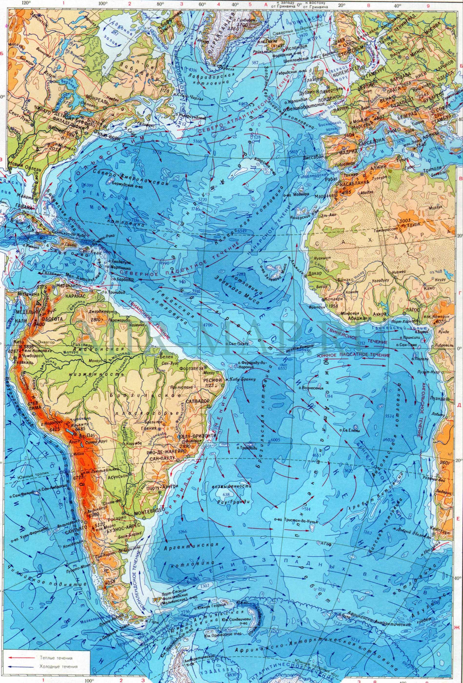 Схема течений атлантического океана фото 645