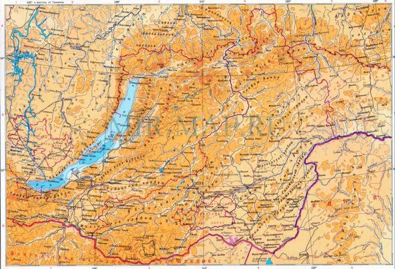Географическая карта Забайкалья и ...: mir-map.ru/437826.html