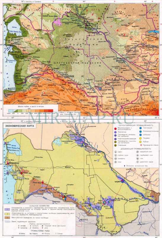 Карта туркменской сср физическая и