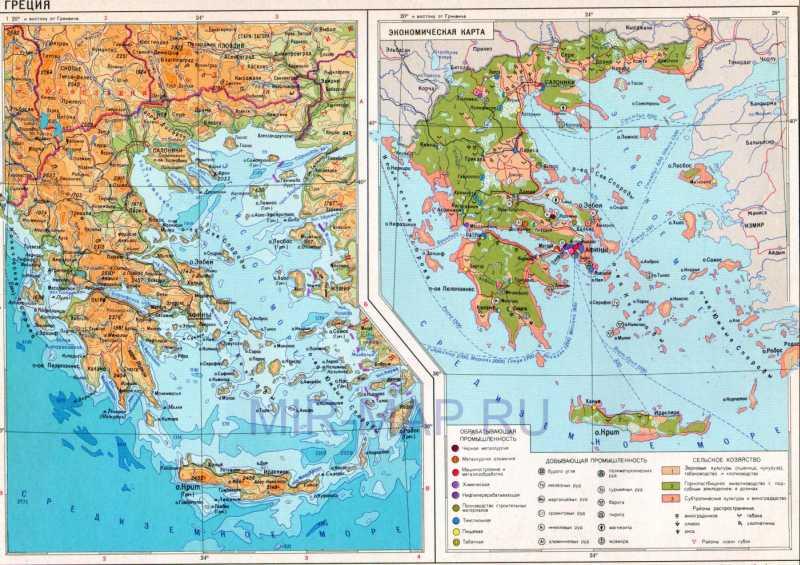 Карта греции на русском языке