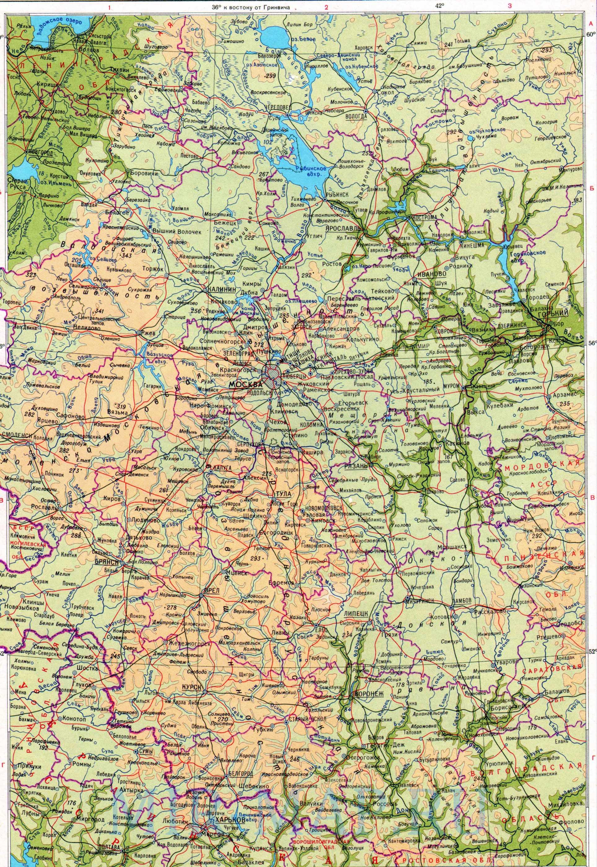 России 1см 40км физическая карта