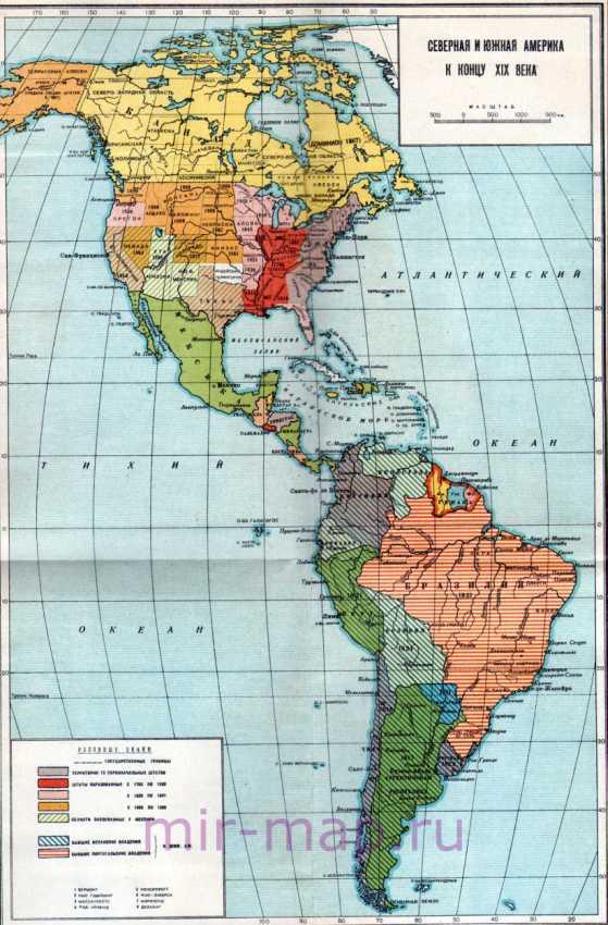 Карта америки на русском языке