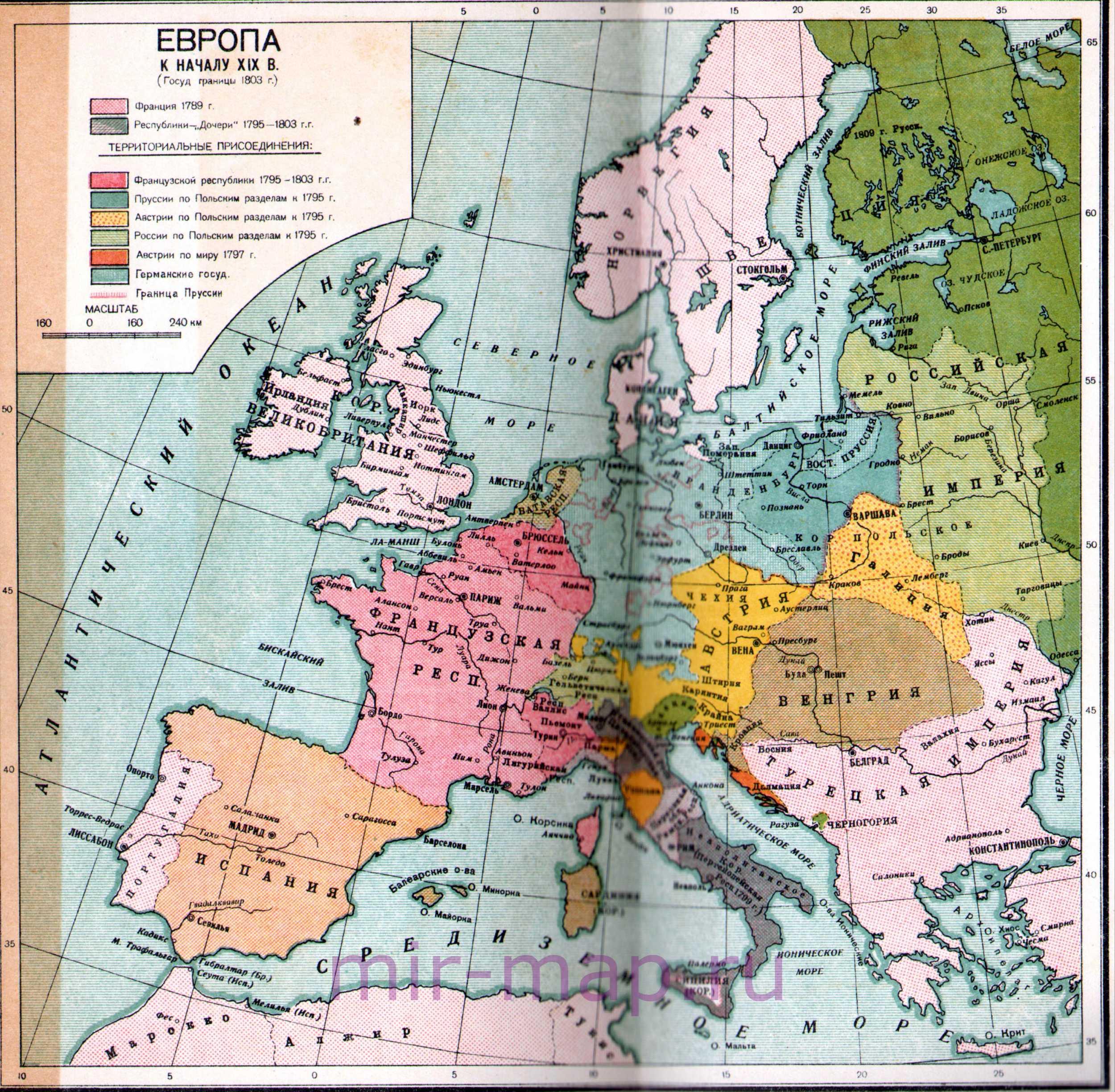 Политическая карта Европы в начале 19 века. Политическая ...: http://mir-map.ru/map449758_0_0.htm