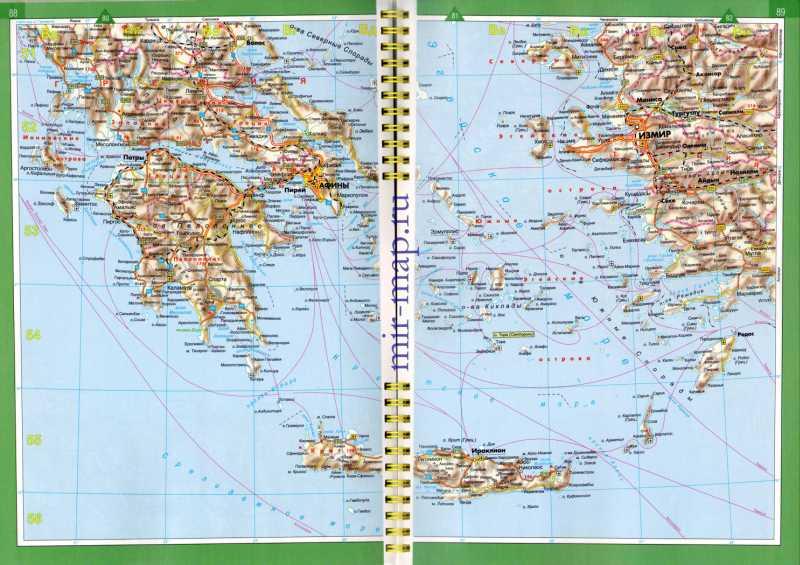 Карта побережья эгейского моря на